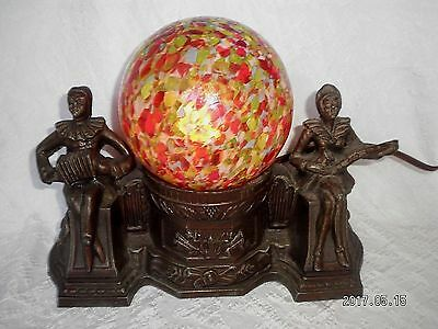 Vintage Spelter Harlequin Musicians Metal Lamp W/ Colorful Czech Glass Shade
