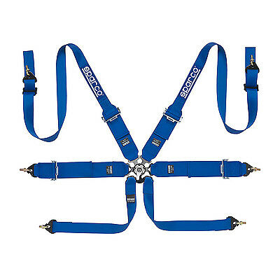 Genuine Sparco 6 - point Safety Belts, narrow to HANS, blue