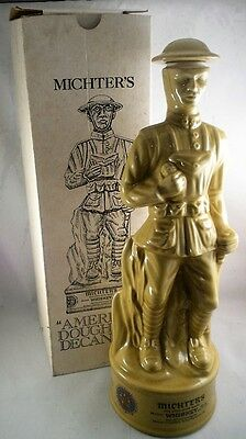 American Legion WWI Doughboy Figural Decanter, Michter's Whiskey Original Box