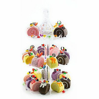 Clear Acrylic Round Scalloped 3-Tier Cupcake Stand Treat Stacked Dessert Tower