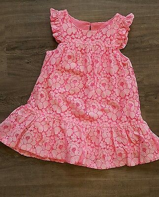 Baby girl 18m hot pink floral lace dress EUC