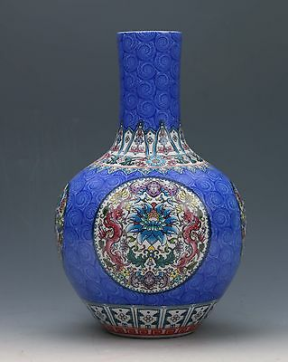 Chinese Famille Rose Porcelain Hand-painted Dragon & Flower Vase W Qianlong Mark