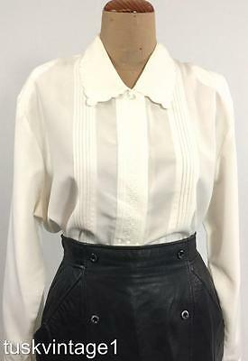 VINTAGE WHITE silky EMBROIDERED scalloped pinch pleated romantic BLOUSE 14 16 18