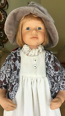 """CESINA German Porcelain Doll 26"""" RF Collection by Adele Puppenhaus.  Teddy Bear."""
