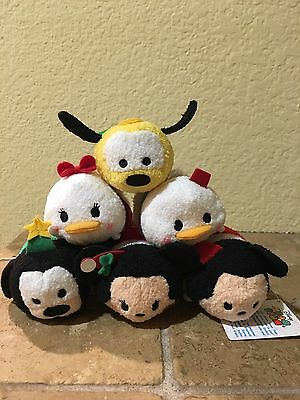 "Lot Of 6 Christmas 3 1/2"" Mickey and Fav 5 Friends Tsum Tsum Plush Toy Dolls"