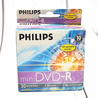Philips Mini DVD-R Discs 8mm 10 Pack Spindle Sealed Blank Media
