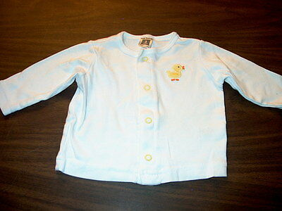 Carter's Baby Girls Boys Size 3 Months White Long Sleeve Shirt with Duckie Duck