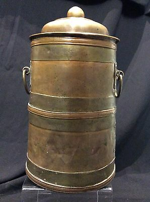 Large Antique Tibetan Mongolian Chinese Brass Bound Copper Pot& Lid