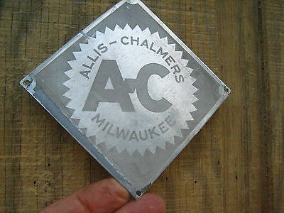 Vintage 4'' by 4'' MILWAUKEE  Allis-Chalmers Stainless Sign Metal AC Tractor?