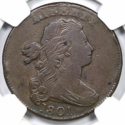 1801 S-219 NGC VF 20 3 Error Rev Draped Bust Large Cent Coin 1c