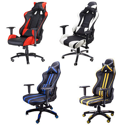 Gaming racing style chair computer high back armrest extra wide cozy cushion