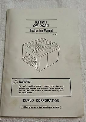 Dp-2030 Duplo Duprinter Instruction Manual