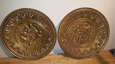 Set of 2 Brass Gold Vintage Wall Charger BLACKSMITH/Tavern Scene Made in England