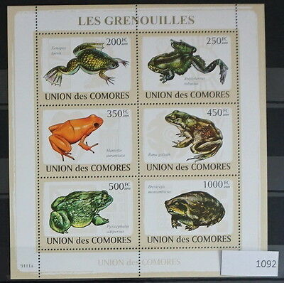 S0 1092 lizards, Reptiles Comores MNH 2009 Frogs