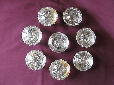 Vintage SET OF 8 clear Glass Dresser Drawer knobs cabinet door hardware pulls