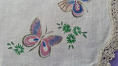 Vintage Doily - Butterflies - Ready To Embroider - Lovely!