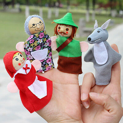 4pcs Kids Finger Puppets Doll Plush Toys Little Red Riding Hood Wooden Headed