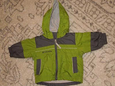 Columbia Green /gray Baby Jacket ,coat W/ Hood Size 6 Months Infant