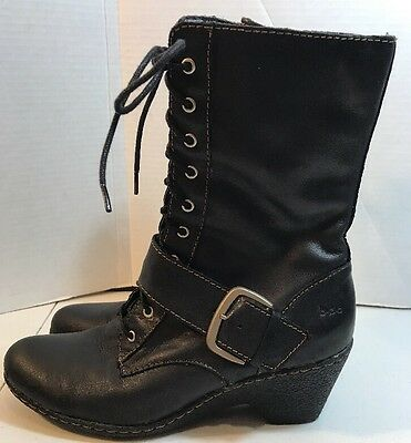 Women's Black Leather Size 8 Wedge Boots Lace Front Mid Calf b.o.c