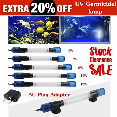 Aquarium Fish Pond Tank Submersible Light Sterilizer Lamp for All Water Clean BS
