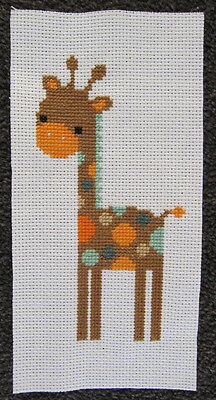 GIRAFFE piece HAND MADE one AIDA CROSS STITCH diy CUTE animal ART zoo EMBROIDERY