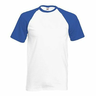 Fruit of The Loom short sleeve Baseball t-shirt Casual Sports T Shirt UK Top