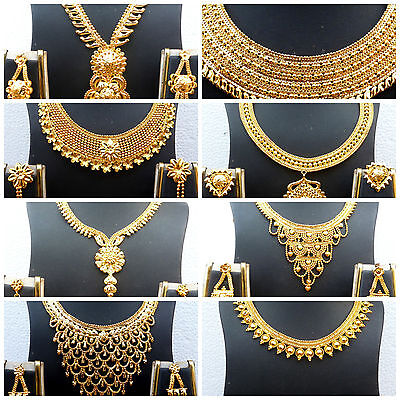 22K Gold Plated Variation Indian Necklace Earrings Wedding Gorgeous Set