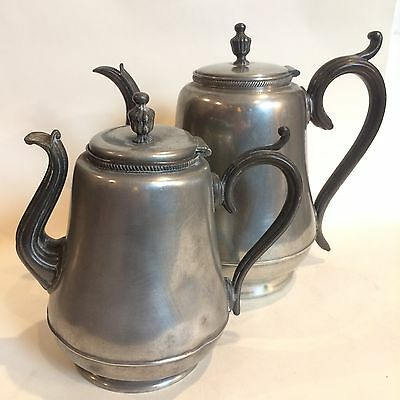 Antique Pewter Teapot Set Lot of TWO Large Matching Victorian Pitchers Ornate