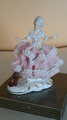 Vintage Dresden Pink Lace Lady w/ Dog Figurine - West Germany Crown Mark