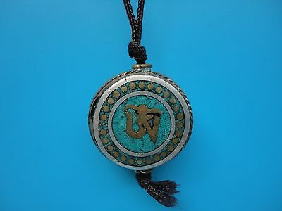 Collected China Tibet Ancient Copper Mosaic Turquoise Good luck Pendant