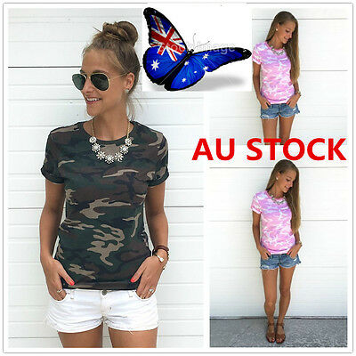 Women's Camo Camouflage Print Short Sleeve Tops Tee Casual Loose T-Shirts Blouse