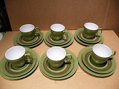 "Vintage Set Of 6 Cup, Saucers & Plates ""hollywood"" By Tamco, Melmac.australia"