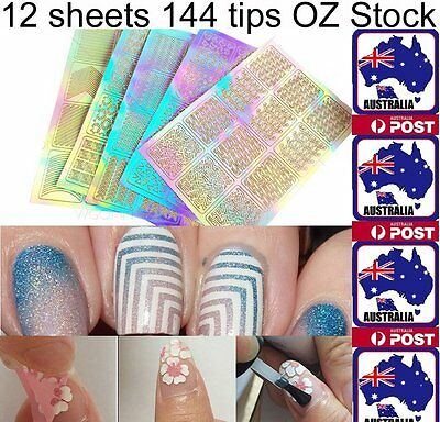 12Sheet Nail Stickers Art Stencil 3D Stampinp Manicure Tip Decal Decoration Tool