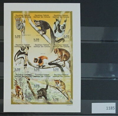 S0 1185 Wild Animals Comores MNH 1998 Monkeys Imperforated