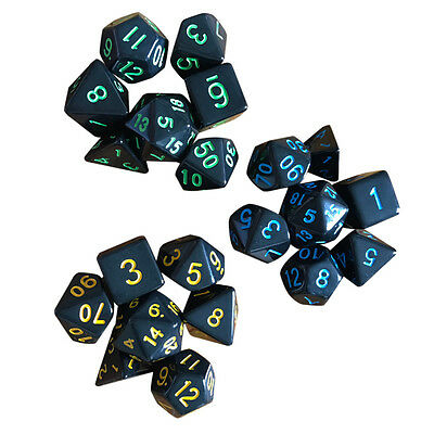 7pcs Multi-sided Game Dungeons & Dragons Polyhedral Acrylic Dice Set Nickel New