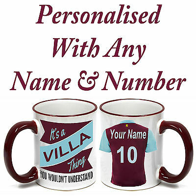 PERSONALISED  FOOTBALL SHIRT MUG FOR ALL Aston Villa FOOTBALL FANS.