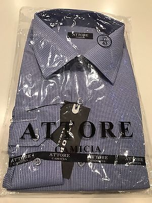 Attore Camicia Men's Business Long Sleeved Sleeve SHIRT; Size XL/43 Blue Striped