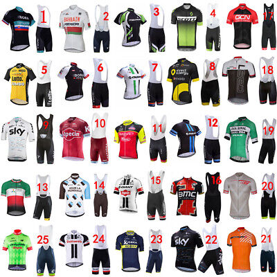 2018 Full Zipper New cycling jersey and bib shorts Race Fit GEL padded 25 style