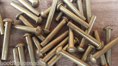 "25 RIVETS 5/32"" x 1"" 25mm SOLID BRASS ROUND HEAD RIVETS MODEL ENGINEER RESTORE"