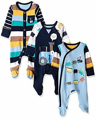 Ex Mothercare Baby Boys Train 3 Pack Sleepsuits Babygrow Age 0 1 3 6 9 12 Months