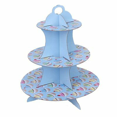 AF 3 tier cake muffin cake stand holder Paper Birthday Party Wedding Decor Blue