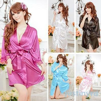 Womens Nightdress+G-string Thongs Satin Robe Lace ROBE Gown Bathrobes Sleepwear
