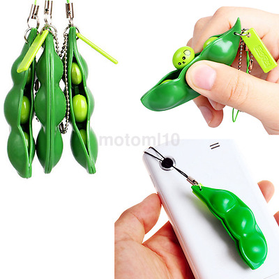 New Cute Pinch Bean keyring Pendant Anxiety Fidget Stress Relief Toy Adult/Kid C