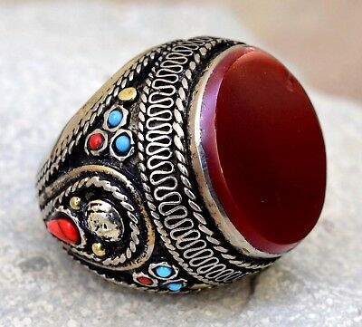 Red Carnelian Kuchi Afghan Ethnic Tribal Ring Jewelry Bohemian Gypsy Hippie Boho
