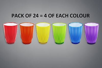 Plastic Drinks Tumbler Party Glasses High Quality Assorted Ribbed Set Pack of 24
