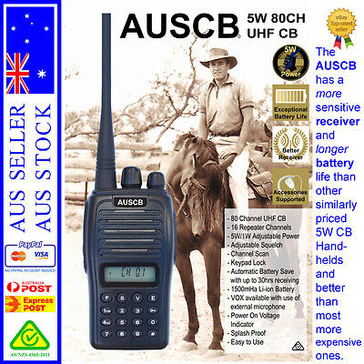 AUSCB 5W 80CH UHF CB Handheld - Approved to Australian Standards