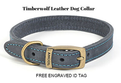 NEW ANCOL TIMBERWOLF LEATHER DOG COLLAR (BLUE) with FREE ENGRAVED ID TAG