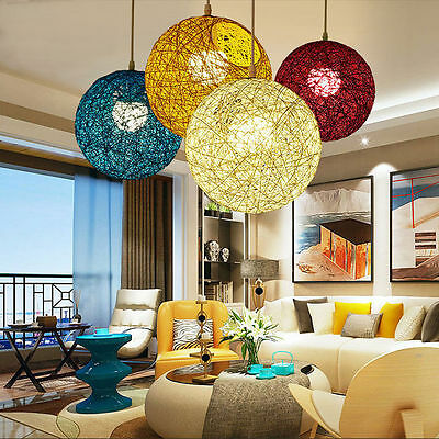20/30/40cm Round Wicker Ceiling Pendant Light Shade Lampshade Lighting Down Lamp