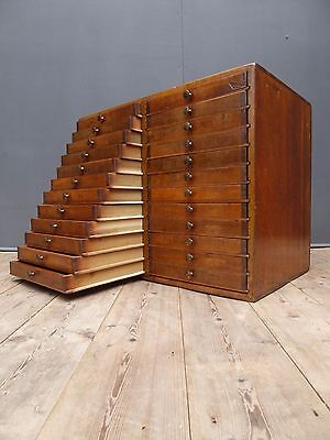 Beautiful Antique Bank Of Ulmer Printers Drawers Victorian Vintage Industrial