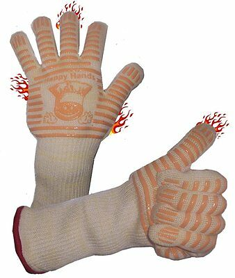 HAPPY HANDS Silicone Oven/BBQ Gloves/Gauntlets with Fingers and Extra Long Cuffs